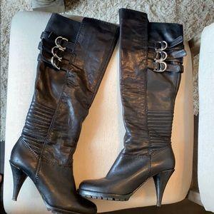 Michael Kors Black Leather Heel Moro Boot